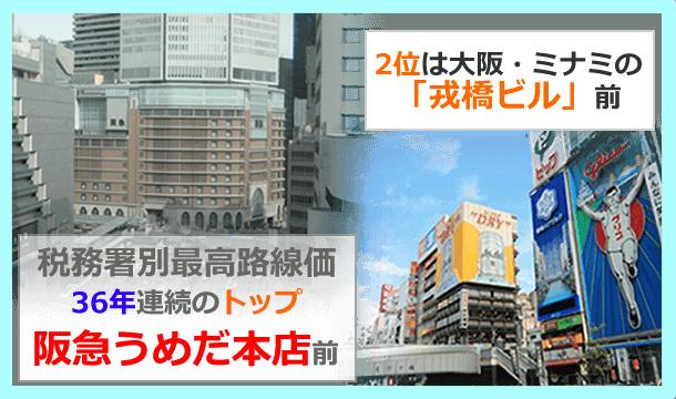 最高路線価トップは阪急百貨店前